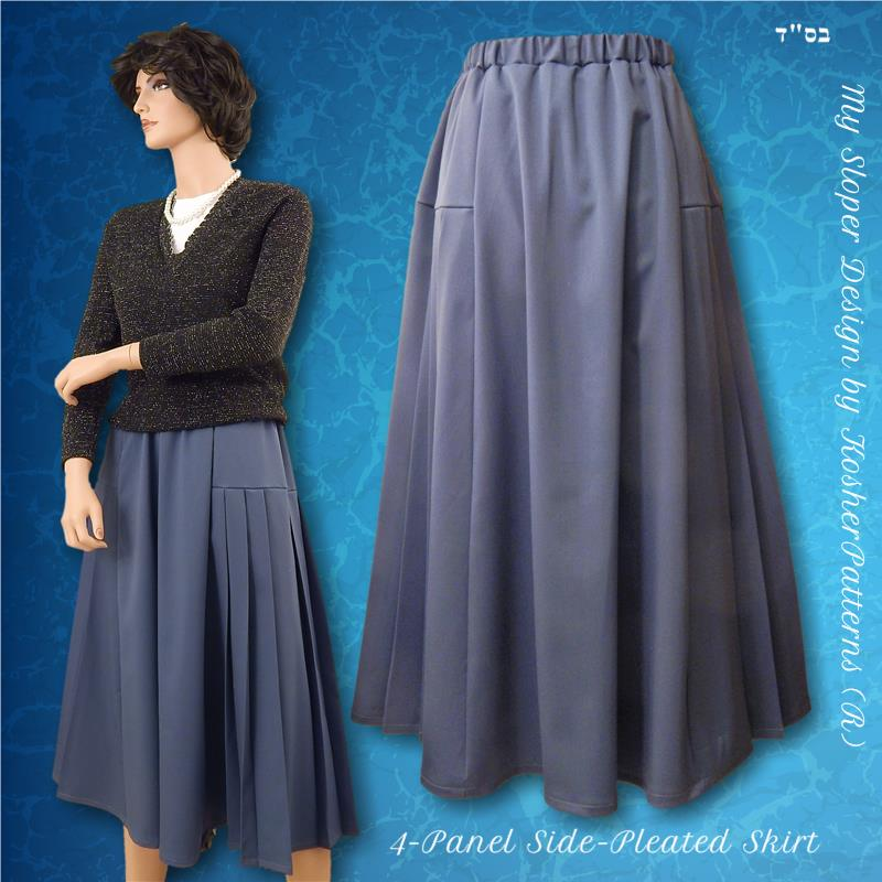 Side-Pleated Four-Panel A-line Skirt