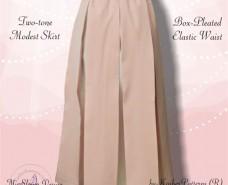 Twotone Box-pleated Skirt