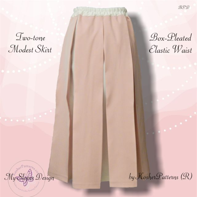 Twotone Box-pleated Skirt