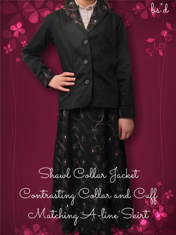 Shawl Collar Jacket with Matching Skirt