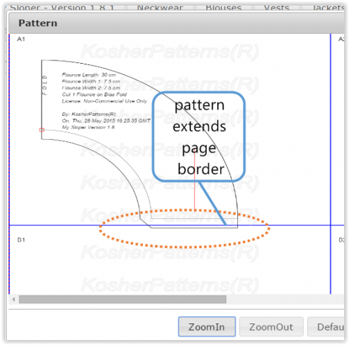 Pattern exceeds page bounday in Landscape mode.