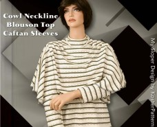 Caftan Sleeves Cowl Neckline Blouson Top