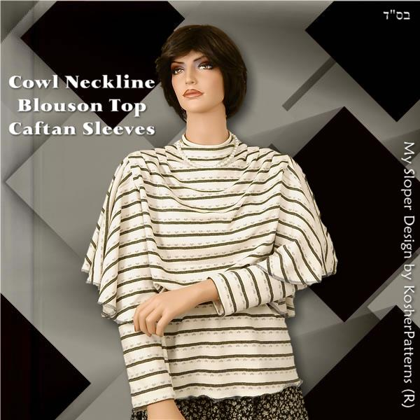 Caftan Sleeves Cowl Blouson Top