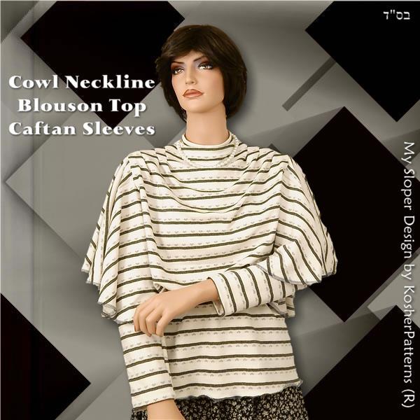 Caftan Sleeves Cowl Blouson Top