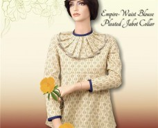 Empire Waist Blouse with Pleated  Jabot Collar