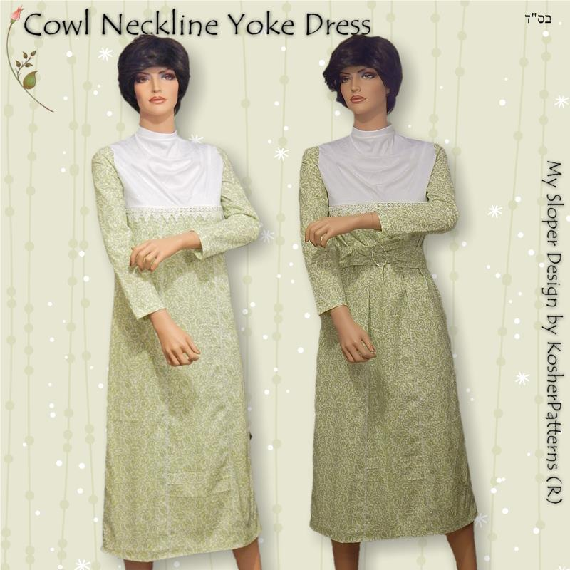Cowl Neckline Yoke Dress
