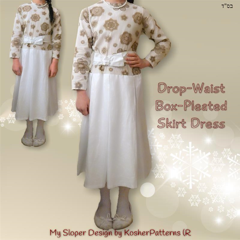 Drop Waist Box Pleated Skirt Dress