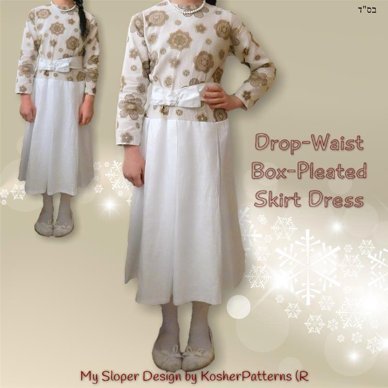 Drop Waist Box Pleated Skirt Dress