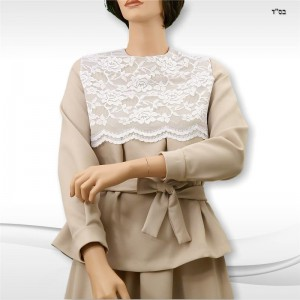 Adjustable Empire-Waistline with Lace Overlay and Tucks below waistline.  A waistbelt with ties is added.