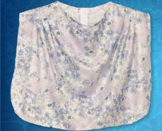 Cowl Neckline Light Blue Floral Dickey