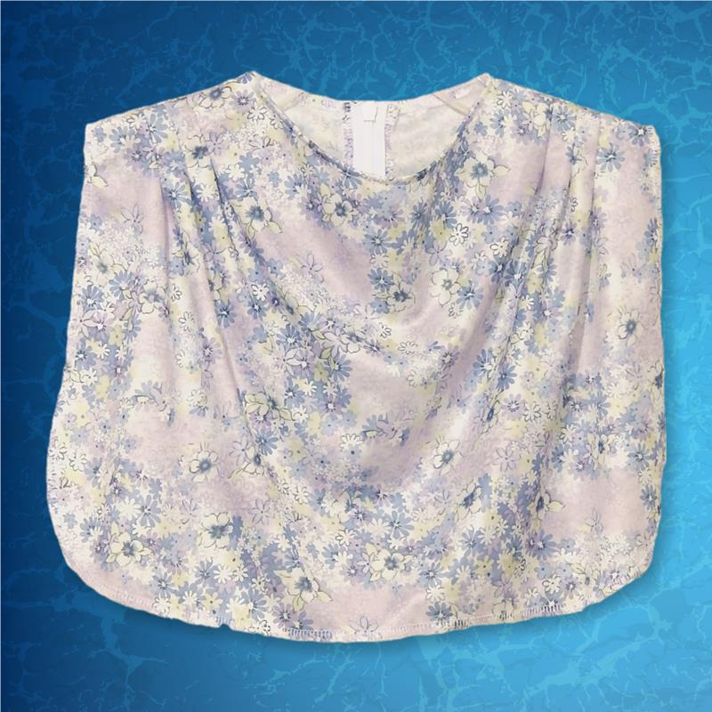 Cowl Neckline Light Blue Floral Dickey