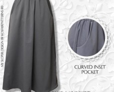 Modest A-line Gathered Skirt Curve Inset Pocket