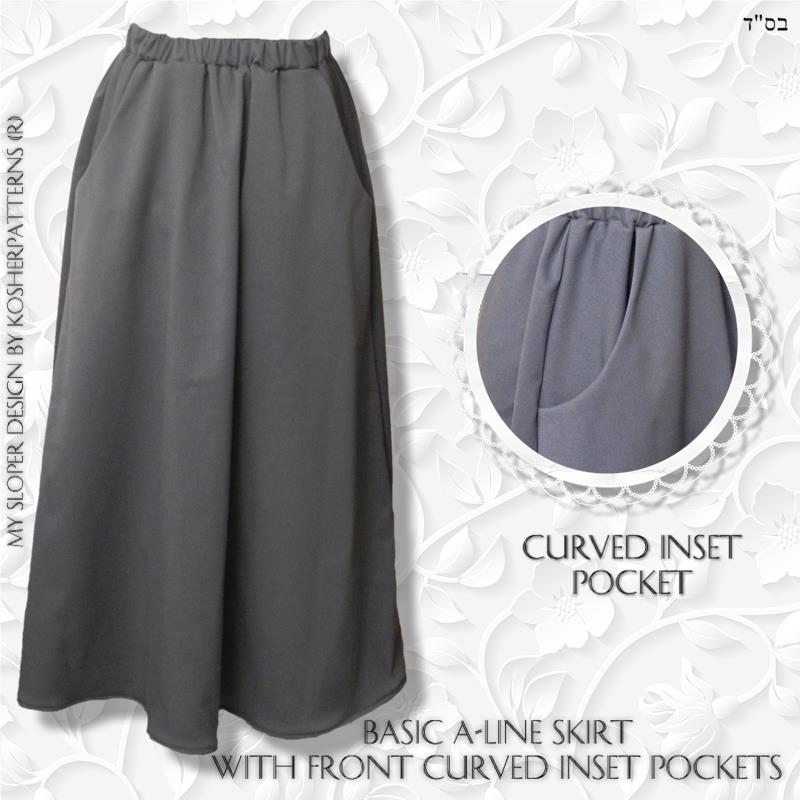 Modest A-line Gathered Skirt Curve Inset Pocket