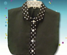 Rounded Traditional Collar Dickey on Polka Dot and Separate Buttonstand