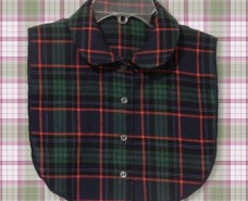Blue Green Flannel Rounded Sport Collar Style B Dickey