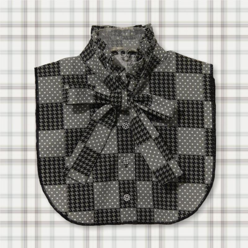 Bow & Frill Collar Houndstooth & Dots Dickey