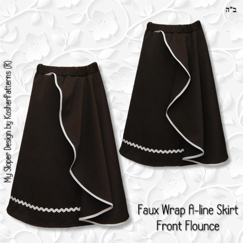 Faux Wrap Aline Skirt Front Flounce
