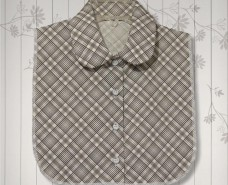 Grey Plaid Convertible Collar Dickey