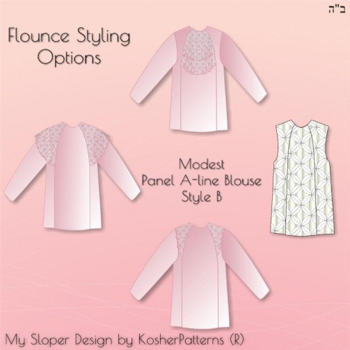 Panel A-line Blouse Style B Styling Options 01