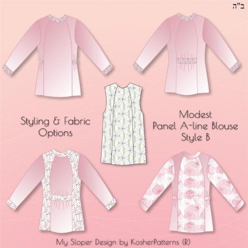 Panel A-line Blouse Style B Styling Options 02