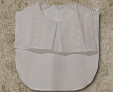 Pleated Jabot Collar on White Eyelet Plissse