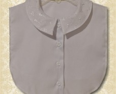 Pointed Rolled Peter Pan Collar Dickey on White Plisse
