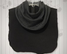 White Polka Dots on Black Cowl Collar Dickey
