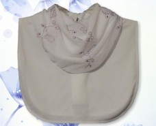 White Purple Mesh Embroidered Cowl Collar Dickey