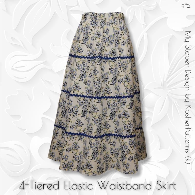 4-Tiered Elastic Waistband Skirt