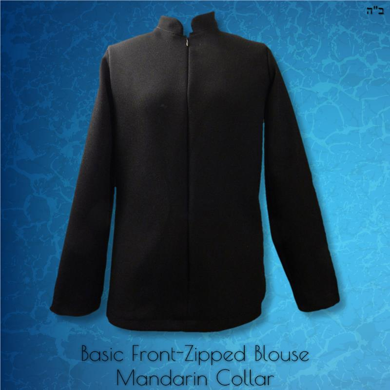 Basic Blouse Front Zipped Mandarin Collar