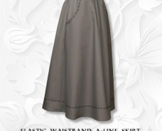 Embroidered Stitching Front Inset Pocket A-line Skirt