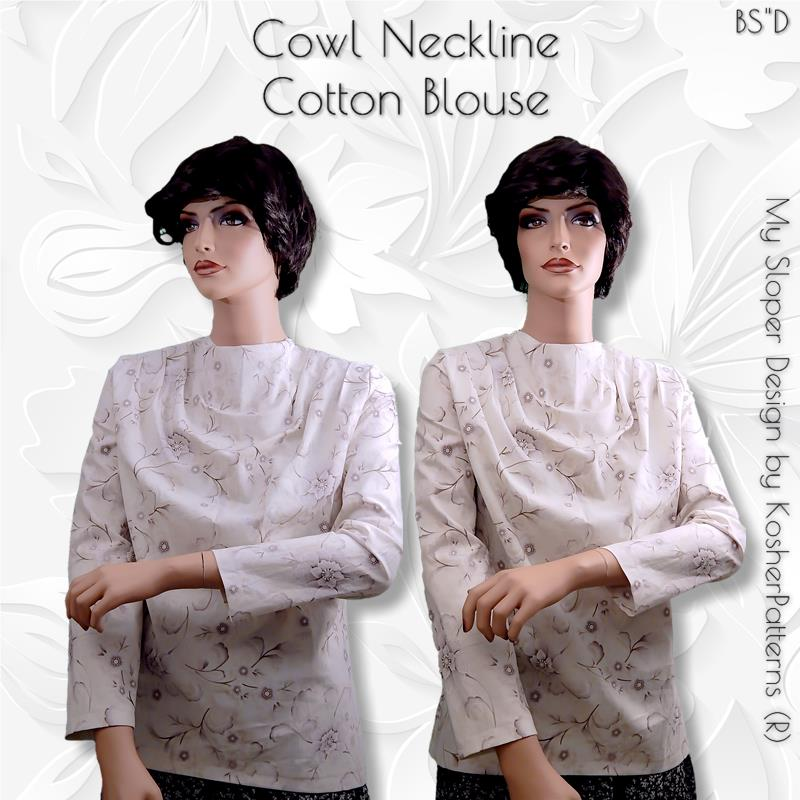 Cowl Neckline Cotton Blouse