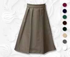 Fitted Waistband Twill Skirt with Front and Back Tucks