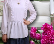 White Lace Shoulder Panel Gathered Blouse